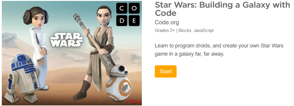 Star Wars game for teaching elementary school children to code