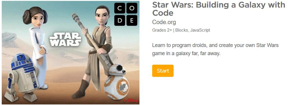 Star Wars game for teaching elementary school children to code