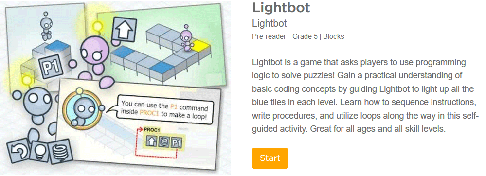 lightbot coding game for elementary school pre-readers